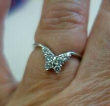 Moissanite Diamond Butterfly Chevron V Ring  Nesting Ring 10K White Gold Wrap