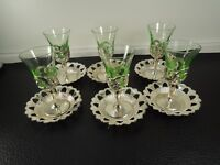 Art Glass Rare Set  6pcs.  Art Nouveau style Glass liqueur Cup Holders