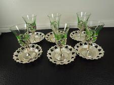 Art Glass Rare Set  6pcs.  Art Nouveau style Glass liqueur Cup Holders
