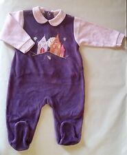 2daa851fbd3b1 Pyjamas violet en velours pour fille de 0 à 24 mois