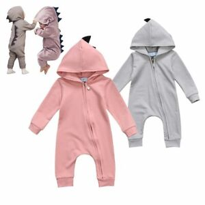 Baby Romper 3D Dinosaur Costume Pink or Gray Jumpsuit Children Clothes & Hoodie