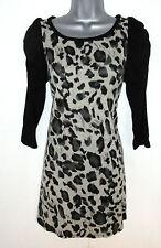 Stunning Mina UK Animal Print Wool mix Tunic Jumper Dress Size S/M