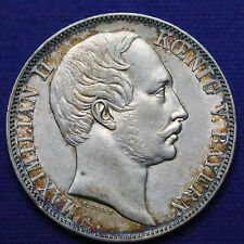 1857 German States Bavaria Silver 1 Thaler. AU-UNC, natural toning! - 598