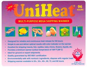 Uniheat 96 Hr Shipping Warmer Heat Pack Tropical Fish Corals Reptiles Insects
