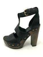 Stuart Weitzman 5.5 Heels Black Leather Clog Wood Platform Strappy Open Toe 5.5