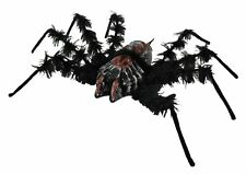 Black Shaking Spider with Light Up Red Eyes and Sound - Animated Halloween Prop