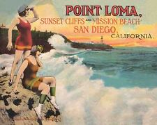 Vintage   POSTER  Rare    1930's   POINT LOMA  Beach  San Diego California 16x20