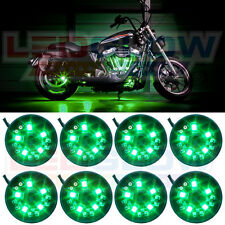 8PC LEDGLOW GREEN LED POD MOTORCYCLE ACCENT UNDERGLOW LIGHTS KIT w POWER SWITCH