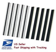 5 Pairs Male + Female 40 Pin 2.54mm Single Row Straight Pin Header Strip - USA