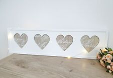 Shabby Chic Cottage Style White Hanging Four Heart Photo Frame