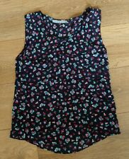 Ladies Kookai Size 38 (10) Navy / Print Sleeveless Shell Top Ex Con