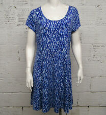 Michael Kors Womens Size L Blue & White Short Sleeve Dress