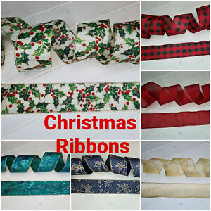 Christmas Ribbon Wired Edge Crafts Decoration Glitter Bow Tree Gift Wrap UK 63mm