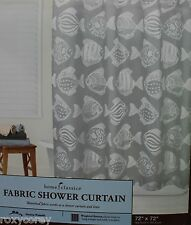 Home Classics Fabric White & Gray Fish Shower Curtain 72X72 NIP