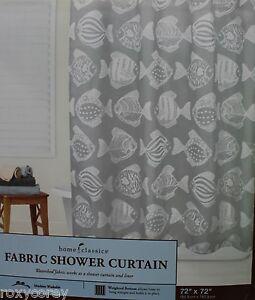 Home Classics Fabric White & Gray Fish Shower Curtain 72X72 NIP