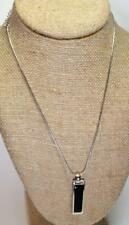 """Signed LIA SOPHIA Silvertone Double-Sided Black Mother Pearl Pendant 18"""" Chain"""
