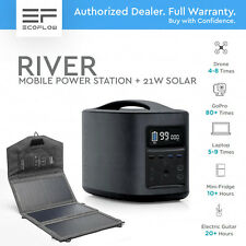 ECOFLOW RIVER - Black. Mobile Power Station 500W BATTERY. INCLUDED 21W SOLAR.