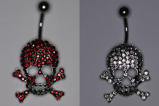 Punk Skull Belly Button Ring with Red Or Clear CZ Stones