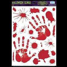 Gothic Horror Prop Dexter Psycho BLOODY HAND PRINTS CLINGS Halloween Decorations