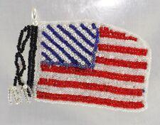 Beaded American Flag USA Applique Shinny & Brigh, Pressure Sensitive glue