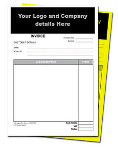 A5 Personalised Invoice Duplicate Books/NCR/Receipt Books - 50 Sets per pad