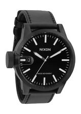 New Nixon Chronicle All Black Leather Men's Watch A127001 A127-001