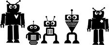 ROBOTS Kids Set of 5  Wall Decal Quote Words Lettering Vinyl Sticker Art