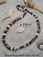 NEW SURFER SKATER STYLE BROWN & RED BEADED ELASTICATED NECKLACE CHOKER / n195D