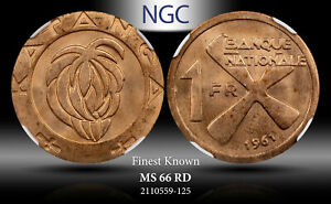 1961 KATANGA (CONGO) FRANC NGC MS 66 RD FINEST KNOWN