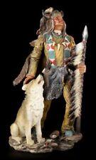 Indianer Figur 32,5 cm groß - Mit Büffelkopf und Wolf - Western Deko