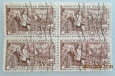 1958 Scott 1115 Lincoln and Douglas block of four used cancelled 4 cent stamps