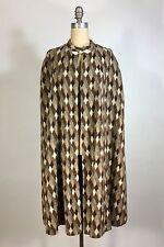 Vintage 1970's brown FRAN & CHIZ diamond check wool blend long cape w/arm slits