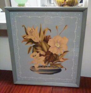 Vintage 1940s Art Deco Flowers wood framed print - TURNER cottage chic