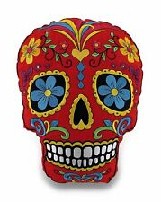 Red Sugar Skull Mexican Day of the Dead Dia de Los Muertos Embroidered Pillow