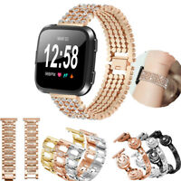 For Fitbit Versa Smart Watch Strap Crystal Bead Alloy Stainless Steel Wrist Band