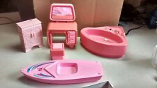 Vintage  Lot of 1970's Barbie Pink furniture,bathtub ,sailboat,dressing table