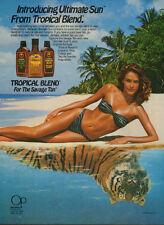 1986 print AD TROPICAL BLEND Ultimate Sun  Savage Tan lovely bikini model 062017
