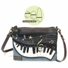 NEW CHALA PIANO MUSIC MINI CROSSBODY CELL PHONE PURSE ADJUSTABLE STRAP BLUE