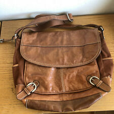 Fossil Saddle Brown Bag Tote Bag Satchel Cross Body  Genuine Leather