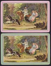 2 Single VINTAGE Swap/Playing Cards HORSE GENT LADIES DOG ID 'PONY RIDE HC-4-2