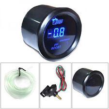 "2"" 52mm Car Universal Digital Turbo Boost Gauge Meter Blue LED Black Cover PSI"
