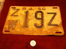 "#4 of 5, OLD VTG 1950 CAR - TRUCK - AUTOMOBILE LICENCE PLATE ""NEW JERSEY ZW 19Z"""