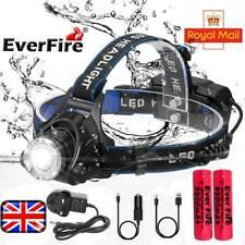 Rechargeable Head Torch Fishing Headlamp 18650 Light Lamp 350000LM T6 LED Set UK
