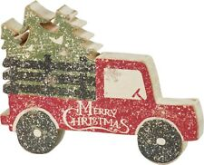 New!~Primitive Wood Chunky Shape Sign~Red Farmhouse Tree Truck~Vintage Christmas