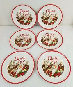 "6 Pottery Barn Kids Christmas 9"" Melamine Plates ""Oh What Fun"""