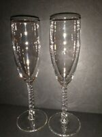 Set of 2 Champagne Flutes 8 1/2 Inches Tall Twisted Stems Elegant