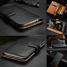 Genuine Real Leather Flip Wallet Case Cover For Motorola Moto Models
