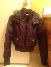 DKNY ACTIVE, Chocolate Brown Puffer Jacket w/Faux Fur, Size Small - Worn Once