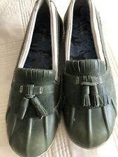 LL Bean Womens Tek 2.5 Waterproof Leather Rain Shoes Duck Olive Green New 9.5 M