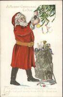 Christmas - Santa Claus Decorating Tree C-199 c1910 Embossed Postcard EXC COND